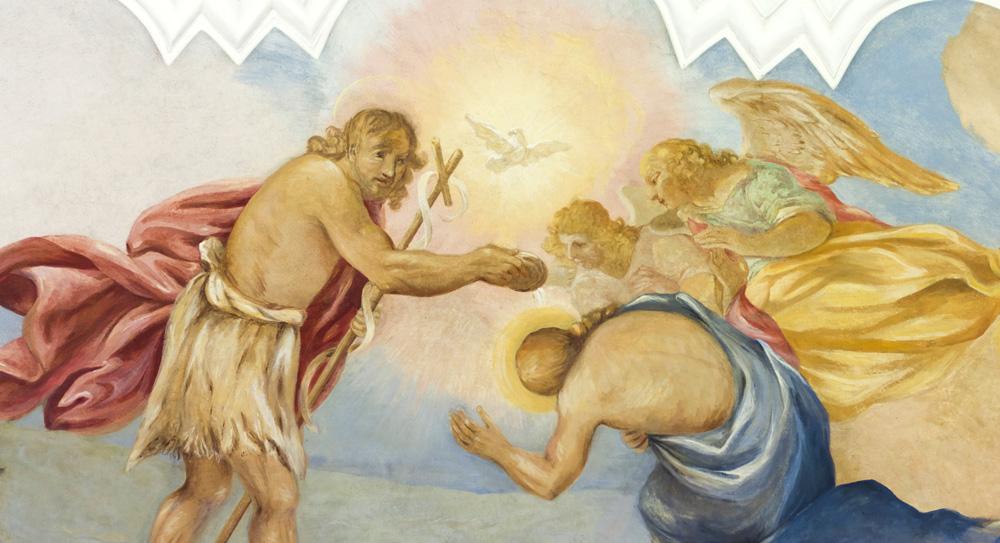 Chrzest w Jordanie, fresk w bazylice w Krzeszowie