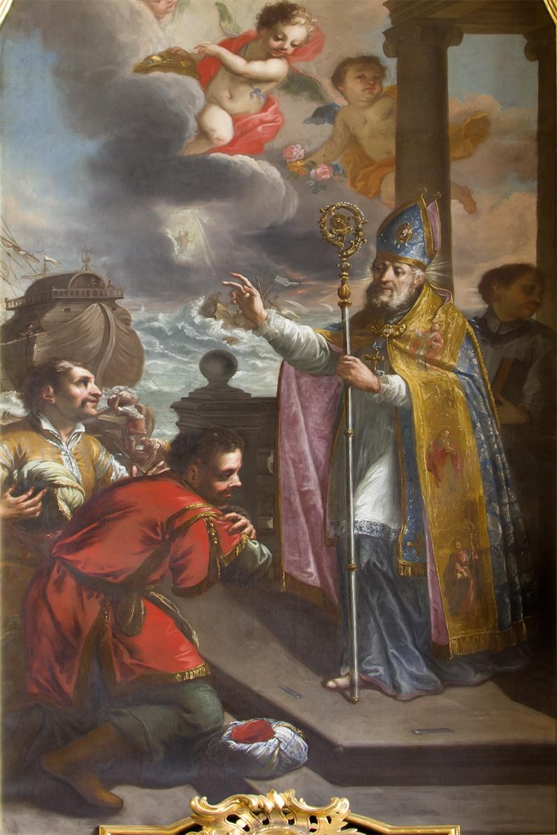 Obraz św. Mikołaj pędzla F. A. Schefflera z 1743 r. z Kaplicy św. Mikołaja